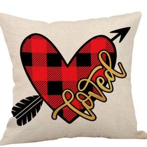 Pillow Cover- NEW- Plaid Valentine Loved Heart